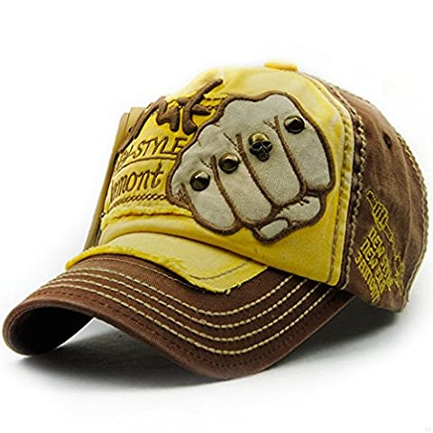 SLBGADIEME Sports Hat Breathable Outdoor Run Caps Comfortable Baseball caps (Shadow Structured)(Fist Brown Yellow)