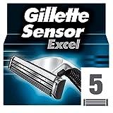 Gillette Sensor Excel - Hojas de afeitar para recambio, paquete con 5 unidades