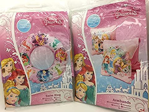 2 Piece Disney Princess Swim set - Swim Ring Inflatable/Blow Up & Swim Armbands + - Swan ho usehold