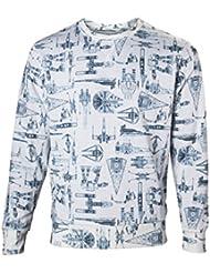 Sweater La Guerre des Etoiles Starship motif allover coton blanc