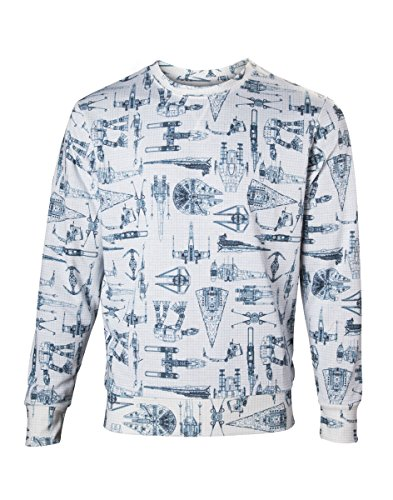 Star Wars Sweater Starship Allover Print weiß Baumwolle Weiß