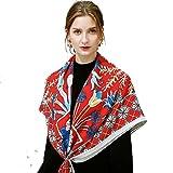 Gran mantón puro envuelve para noche de bufanda,Bufanda de bucle infinito acogedor Poncho Envolver Chal Impreso Bandana Keep warm Regalos Partido-B 120x120cm(47x47inch)