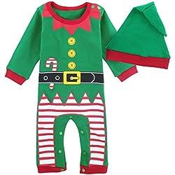 Mombebe Bebé Niños Disfraz Navidad Duende De Navidad Mameluco con Gorros (Duende De Navidad, 12-18 Meses)