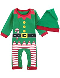 Mombebe Bebé Niños Disfraz Navidad Duende De Navidad Mameluco con Gorros
