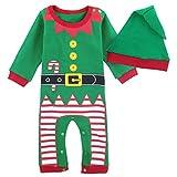 Mombebe Bebé Niños Disfraz Navidad Duende De Navidad Mameluco con Gorros (Duende De Navidad, 6-9 Meses/80)
