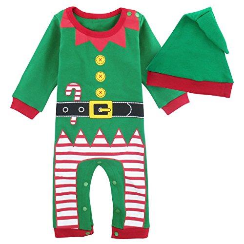 Mombebe Baby Weihnachten Kostüm Elf Strampler Outfit mit Hut (12-18 Monate, Weihnachtself) Größe - Elf Kostüm Für Weihnachten
