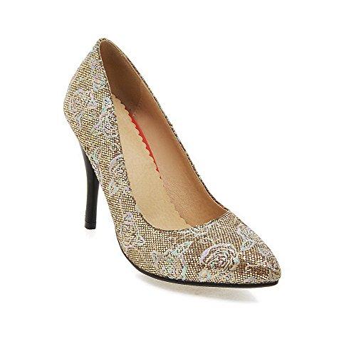 VogueZone009 Femme Fermeture D'Orteil Pointu Stylet Tire Couleur Unie Chaussures Légeres Doré