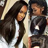 Lady Wig 100% Non Transformés Brésiliens Vierges De Cheveux Humains Pleine Dentelle Perruque sans Colle 360 Frontale Dentelle Perruques Longue Droite Naturelle Pré Plumée Bébé Cheveux,24Inch