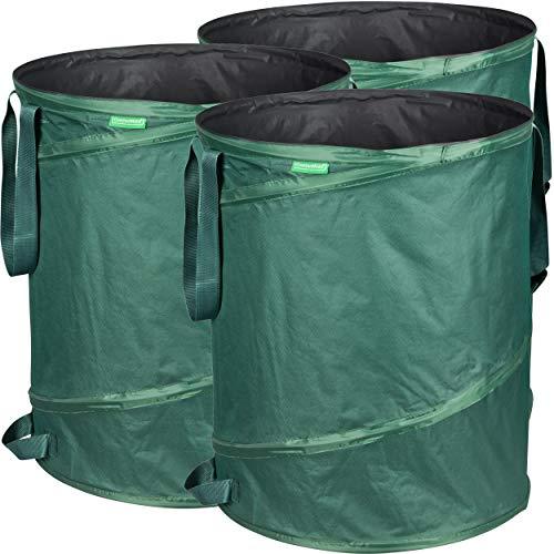 *GardenMate 3x Pop-up Gartensack 160l – Selbstaufstellend aus robustem Polyester Oxford 600D Gewebe*