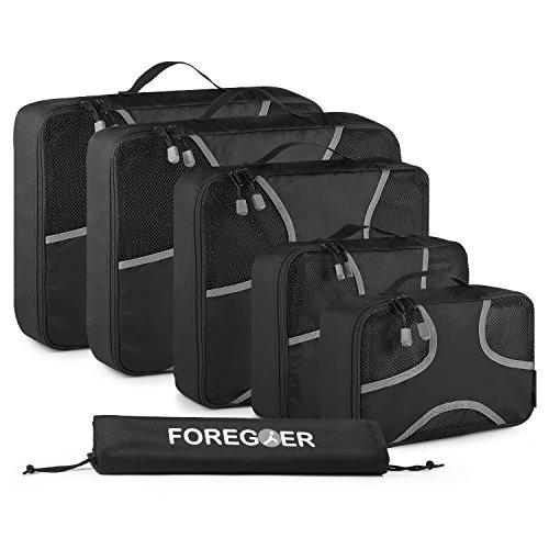 FOREGOER 6-teiliges Set Kleidertaschen Packtaschen Kofferorganizer Reisetaschen mit Wäschebeutel - Schwarz