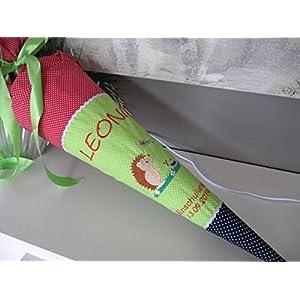 #79 Igel rot-grün-blau Schultüte Stoff + Papprohling + als Kissen verwendbar