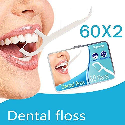 Zahnseide 120 Stk. Zahnseide Sticks Zahnstocher kunststoff Zahnpflege Dental Floss Zahnreiniger Sticks mit Griff - Zahnseidensticks - 60/ Paket