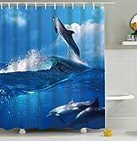 Furnily 3D Duschvorhang Lebhafte Seewelt Delfin Polyester wasserdichter Form Badezimmer-Vorhang