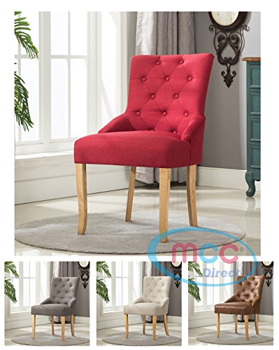 MCC Linen Fabric Accent Chair Dining Chair For Home & Commercial Restaurants (Red)