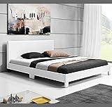 muebles bonitos Cama de Matrimonio Luna para Colchón de 180x200cm Blanco
