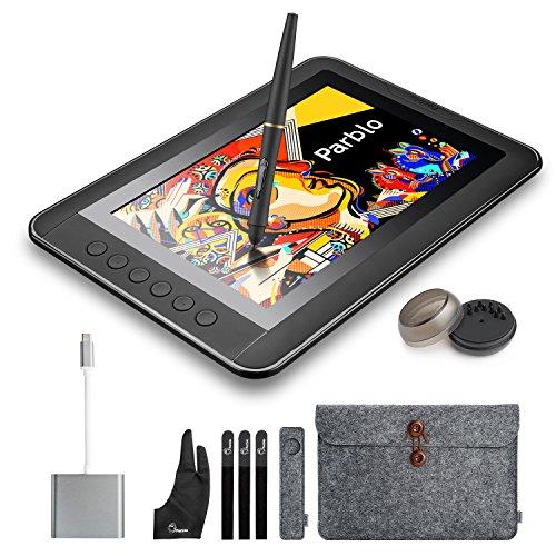 parblo mast1010.1pulgadas tableta digitalizadora Monitor con teclas de acceso directo y lápiz pasivo lápiz capacitivo + USB 3.1Tipo C Cable adaptador para Macbook