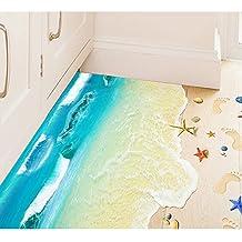 OLSR® 3D Hermosa playa Adhesivo de suelo desmontable impermeable pegatina de pared Pegatinas Decorativas Adhesiva