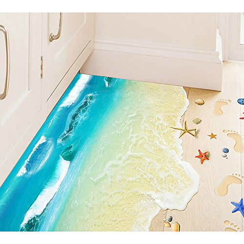 OLSR® 3D Hermosa playa Adhesivo suelo desmontable
