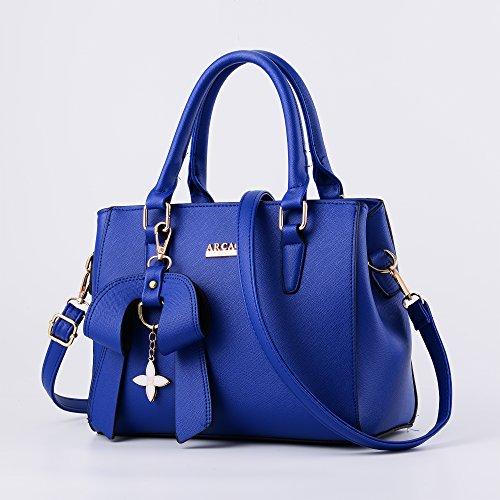 MINICE Damen Handtasche Heiße Elegante Tasche-Leder Schultertasche Handtaschen Umhängetasche Mit Bogen Anhänger(Blau)