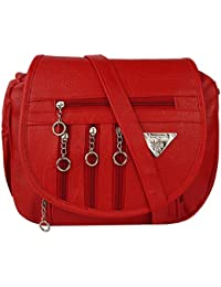 GulshanCollection Women Evening/Party, Casual PU Sling Bag With Stylish Fourth Zipper Flap (Red)