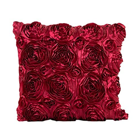 moonuy broderie rose oreiller Sofa taille coussin Throw Case Cover,43X43cm/16.9X16.9