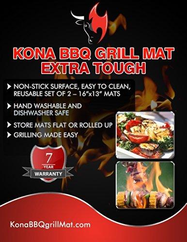 510qybtAHPL - KONA Beste BBQ Grillmatte - 600 Grad Matten mit Antihaftbeschichtung Schwere Qualität (2 Stück) - 7 Jahre Garantie