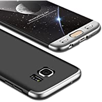Funda Galaxy S7 Edge,Carcasa Samsung S7 Edge,JMGoodstore Funda 360 Grados Integral Para Ambas Caras + Cristal Templado para Samsung Galaxy S7 Edge,[ 360 ° ] 3 in 1 Slim Fit Dactilares Protectora Skin Caso Carcasa cover para Samsung Galaxy S7 Edge Plata+Negro