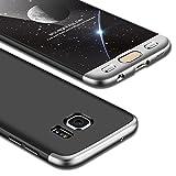 Coque Samsung Galaxy S7 Edge,Cadeau:Verre Trempé écran Protecteur Samsung Galaxy S7 Edge,JMGoodstore Étui Housse de protection PC Hard Shell Anti-choc Protection du corps entire 360 degrés Full-Cover Case Scratch Pare-chocs Casque de protection matte 3 en 1 Argent+Noir