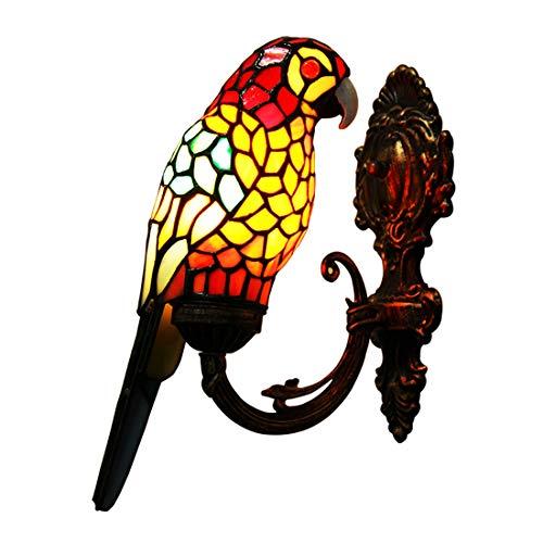 Makenier Vintage-Wandleuchte Papagei, Tiffany-Stil, gebeiztes Glas, Rot