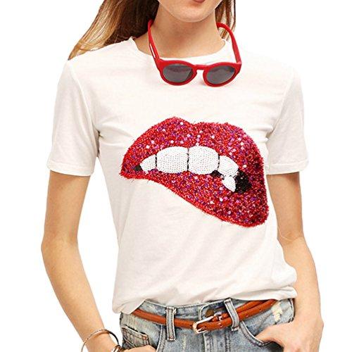 WanYang Rojo Labios Lentejuelas De Las Mujeres Impresión Manga Corta Camiseta Suelto Tops con Cuello Redondo