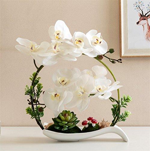 Schmetterlings-tisch-set (FUHOAHDD Europäische künstliche Blumen Künstliche Blumen Dekorative Schmetterling Orchideen Set Modell Zimmer Dekoration Wohnzimmer Tisch Floral weiche Dekoration Bonsai, Weiß)