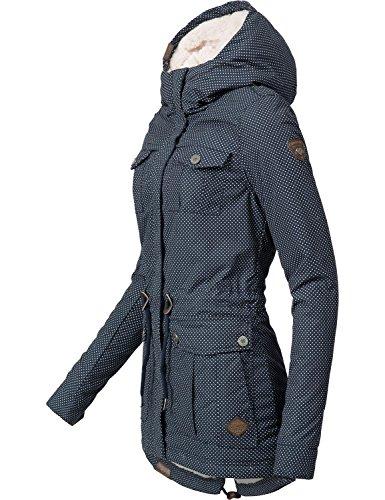 Ragwear Damen Mantel Wintermantel Baumwollparka YM-Laika Navy Minidots Gr. S - 3