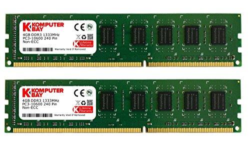 Komputerbay 8GB (2X4GB) DDR3 DIMM (240 pin) 1333Mhz 9-9-9-25 1.5V PC3-10600/PC3-10666 8 GB KIT