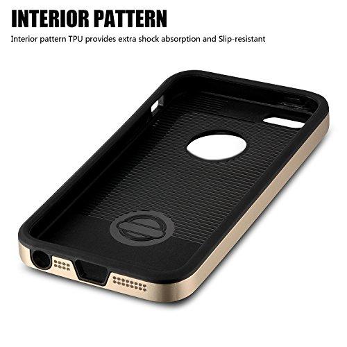 tinxi® Höhequalität Schutzhülle für Apple iPhone 5/5S/SE 4,0 Zoll Hülle Rutschfest Shock Proof Rück Schale Cover Case Schutz aus PC RückSchale mit silikon Rand sowie Innenschale Schwarz(nur für Origin Gold