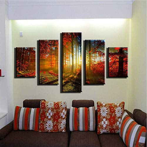 Aisufen Leinwand Wandkunst Poster Wohnkultur 5 Stücke Roten Wald Sonnenaufgang Natürliche Landschaft Gemälde Modulare HD Drucke Herbst Bilder Frame-30CMx40 / 60 / 80CM, Mit Rahmen