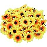 200 pezzi teste di girasole artificiale teste di fiore giallo di seta finto per il giorno del ringraziamento decorazione della festa nuziale fai da te (Colore 1)