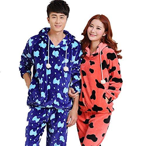 DSHUY-Pareja-hombre-y-mujer-los-inviernos-son-clidos-y-manchas-con-capucha-largo-manga-franela-pijamas-ropa-de-dormir-y-loungewear