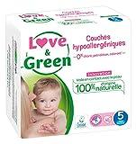 Love & Green Couches Bébé Hypoallergéniques 0% Taille 5 (12-25 kg) 40 couches