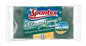 Spontex  Eponges Combinés Grattantes  3 Eponges Gratte Eponge plus Microfibre  Lot de 2