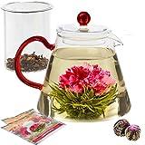 Teabloom Coffret Cadeau théière Amore - Théière en Verre borosilicaté avec infuseur - 4-6 Tasses (1000 ML) - Deux Fleurs de thé incluses.
