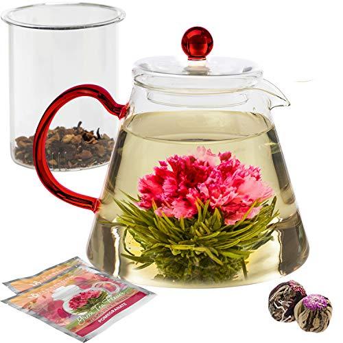 Teabloom Amore Teekanne aus Glas Geschenkset – Borosilikatglas Teekanne mit Teeei – 4-6 Tassen (1000 ml) – Inkl. 2 Blumentees