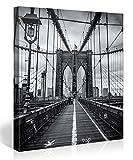 Gallery of Innovative Art – Brooklyn Bridge Black And White – 80x80cm Premium Kunstdruck Wand-Bild – Leinwand-Druck in deutscher Marken-Qualität – Leinwand-Bilder auf Holz-Keilrahmen als moderne Wanddekoration