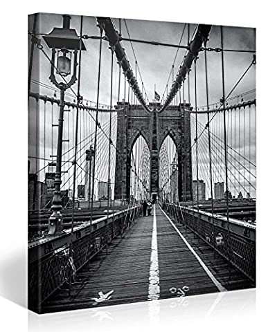 BROOKLYN BRIDGE BLACK and WHITE – Premium canvas art print Wall-Deco – 80x80cm XXL Gallery Art – Canvas-Pictures stretched on wooden frames as modern Artwork