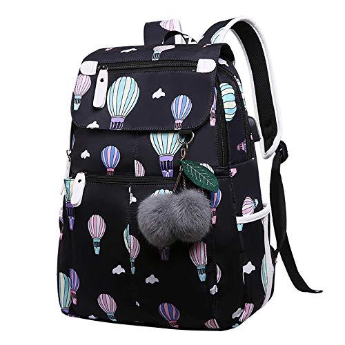 Junior High School Student Tasche Rucksack mit hoher Kapazität Rucksack , Ballon schwarz [senden haarigen Ball] _16 Zoll