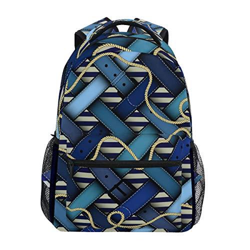Zainetto blu con cintura a quadretti per scuola, università, viaggi, escursionismo, zaino alla moda per computer portatile, unisex, teen casual, in tela