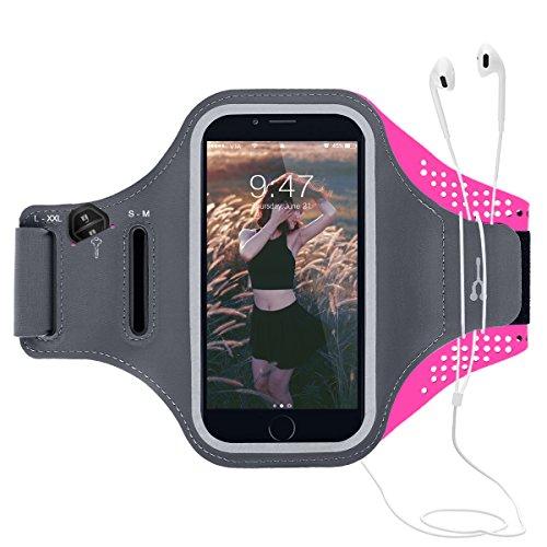CE-Link Sport Armband iPhone,Android Sportarmband Hülle Handytasche Schweißfest Running Armtasche Reiten Handyhülle Mit Schlüsselhalter, Kabelfach, Kartenfach und Opfhörer Band für iPhone 6 Plus/6s Plus/7 Plus, Samsung Galaxy S7 Edge/S6 Edge Plus/S8/S8 Plus/J7/A7 2017/Note 8, Huawei P8 /P9 /P9 Lite /P10 Lite/P10 Plus /6X bis 6.0 Inch - Rose Armband Schlüssel-schlaufe