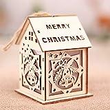 XuBa Colgante de Forma de Casa de Madera de Luz para Adornos de Árbol de Navidad decoración de Boda de Navidad