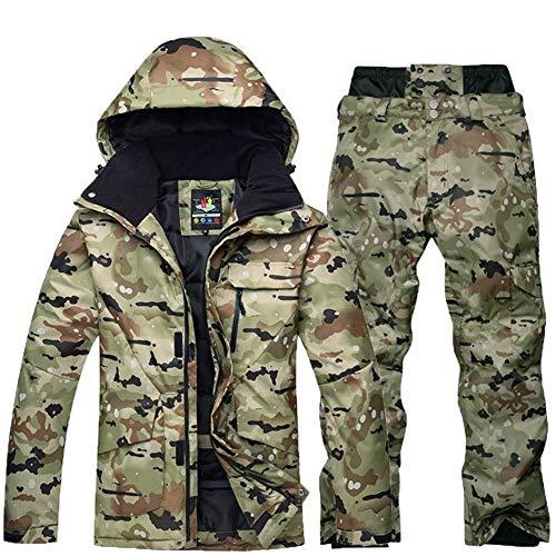 LINDANIG Hochwertiger Camouflage Herren Skianzug Snowboardjacke Winddicht Wasserdicht Atmungsaktiv Winterjacke Warmer Skianzug (Farbe : Armeegrün, Size : L)