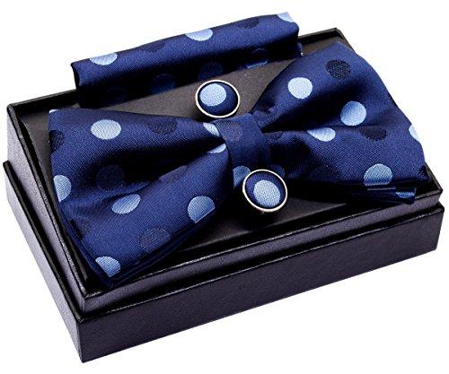 """Tejido de lunares de 2colores para PRE-TIED BOW TIE (5"""") W/bolsillo cuadrado & gemelos Set de regalo Azul Navy Blue with Blue Polka Dots Talla única"""