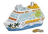 Bavaria Home Style Collection Spardose Schiff für die Kreuzfahrt oder Urlaubskasse I Spardose Keramik als Geldgeschenk - Schiff Deko - Kreuzfahrt Spardose I Spardose groß mit 8 x 5 x 20 cm in bunt